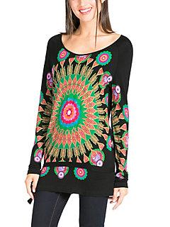Desigual - T-shirt femme Desigual à imprimé tendance, coupe longue