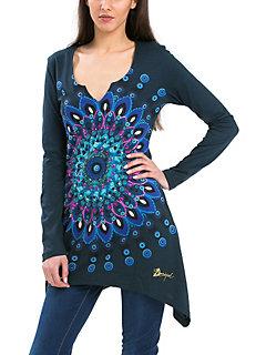 T-shirt Desigual, cotés longs avec motif très coloré