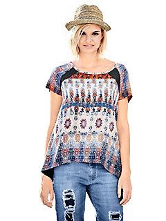 T-shirt imprimé etnique pour femme, coupe asymétrique