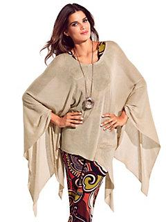 Passigatti - Poncho femme en tricot léger à pans asymétriques