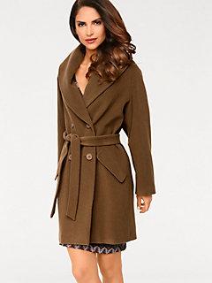 Manteau oversize en laine à col châle, avec ceinture