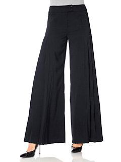 Pantalon large type jupe-culotte, ceinture large