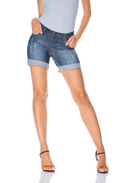 Mandarin - Short en jean à poches et à revers