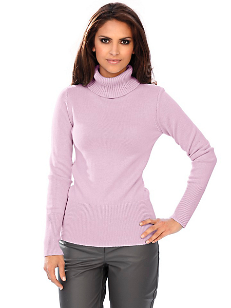 Patrizia Dini - Pull-over à col roulé en tricot fin et maille côtelée