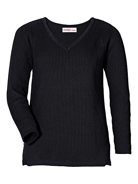 Sheego Casual - Pull en tricot uni classique avec col en V