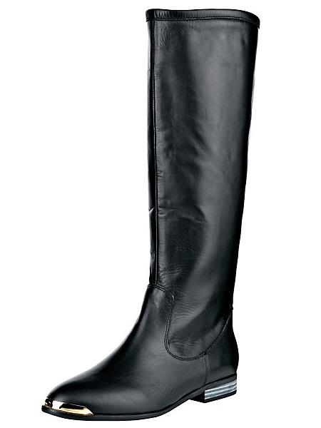helline - Bottes plates noires en cuir lisse, bouts en métal doré