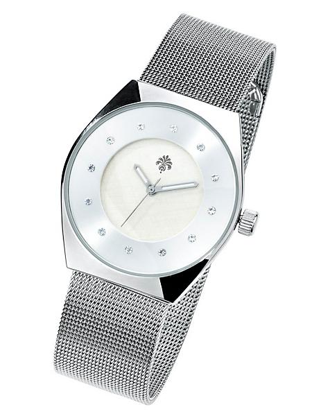 helline - Montre-bracelet argentée à cadran orné de strass