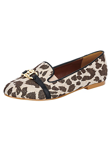 helline - Mocassins femme tendance, imprimé léopard en tissu