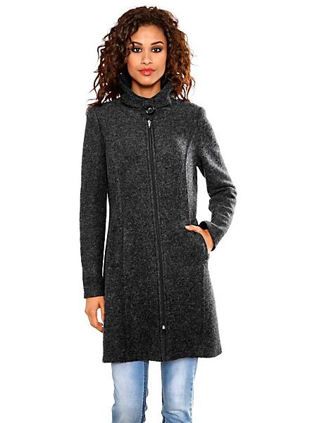 B.C. Best Connections - Manteau long en laine pour femme à glissière sans col