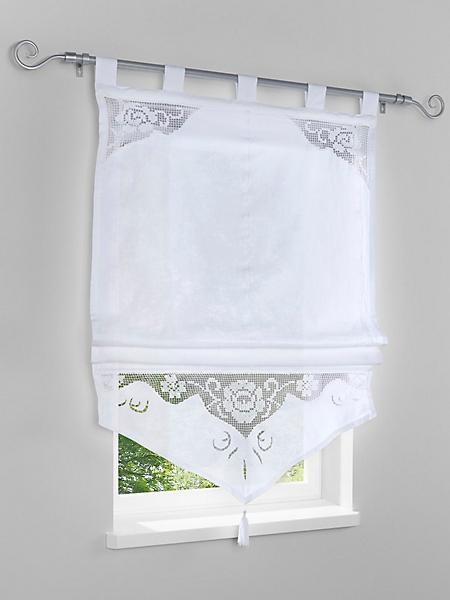 helline home - Store bateau en tissu blanc, empiècement en crochet