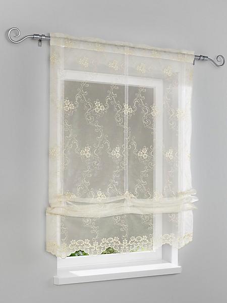 helline home - Rideau store en tissu crème, motifs classiques