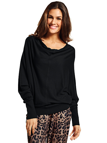 B.C. Best Connections - Pull-over ample en tricot fin, manches chauve-souris