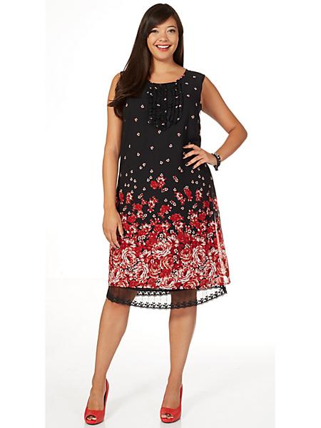 Sheego Style - Robe courte en voile imprimée à fleurs, plastron plissé