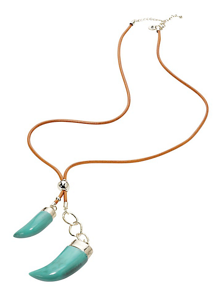 helline - Collier avec pendentifs en forme de dents turquoises