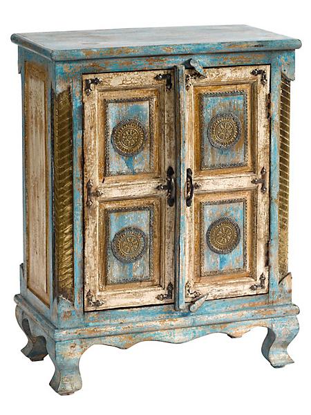 helline home - Commode en bois massif effet vieilli, détails en métal