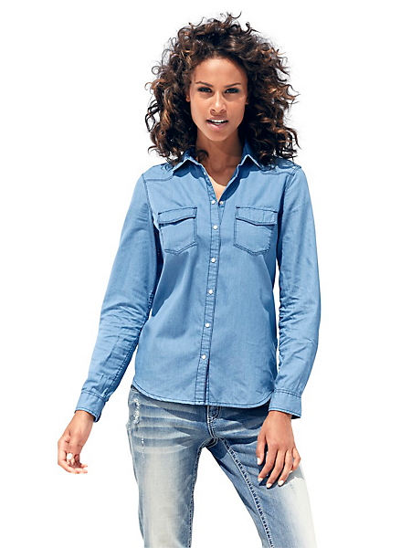 B.C. Best Connections - Chemise en jean femme coupe cintrée, boutons à pression