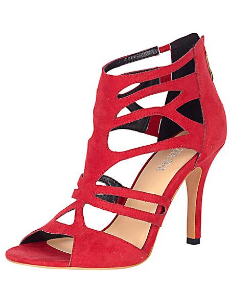 helline - Sandales rouges multi-brides fines à talons fins