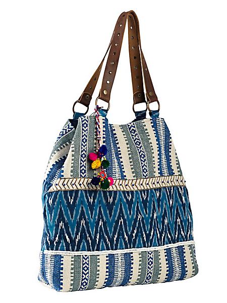 Smitten - Sac cabas à motif ethnique, anses en cuir avec rivets