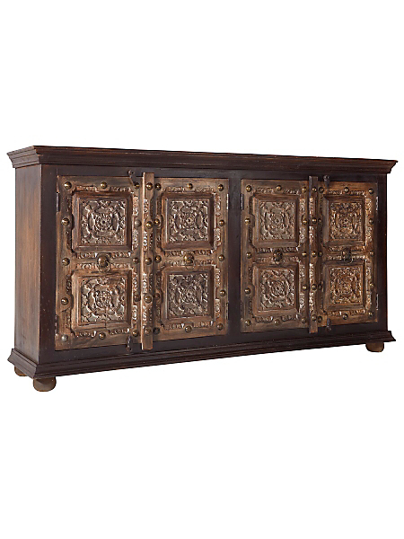 helline home - Bahut en bois sculpté artisanal unique, 4 portes
