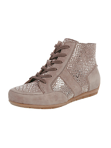 Gabor - Chaussures tennis en cuir nubuck taupe, coupe montante