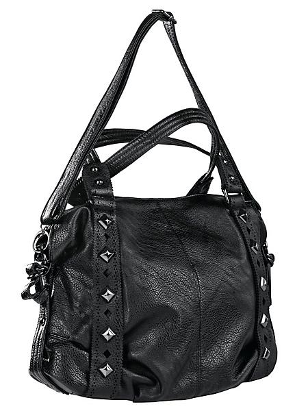 helline - Sac à main noir, rivets ronds et carrés en métal,