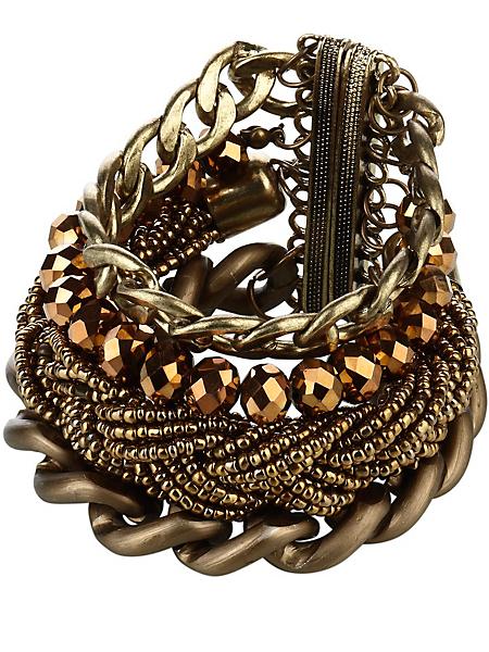 helline - Bracelet multirangs en métal et perles, fermoir aimanté