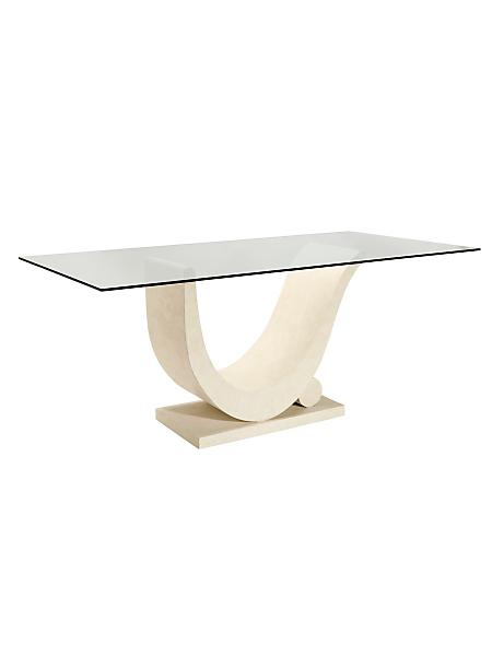 helline - Table design, plateau en verre et pied en pierre écrue