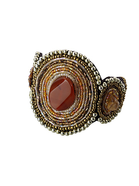 helline - Bracelet large de style ethnique avec perles et pierres