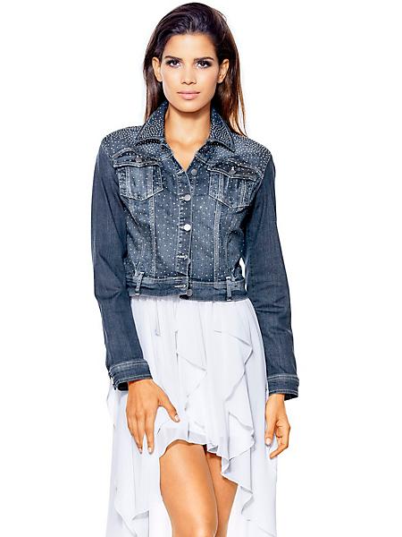 Ashley Brooke - Veste en jean femme coupe très courte, bleu denim