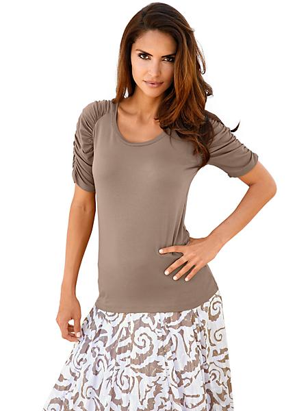 Ashley Brooke - T-shirt à manches froncées et col rond