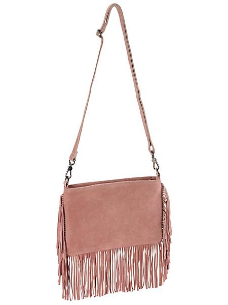 helline - Sac pochette à franges en cuir velours rose poudre