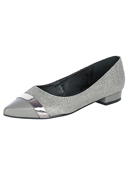 helline - Ballerines pointues grises en cuir à petits talons