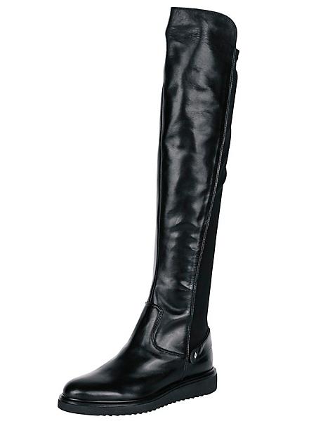 helline - Cuissardes noires en cuir lisse légèrement brillant