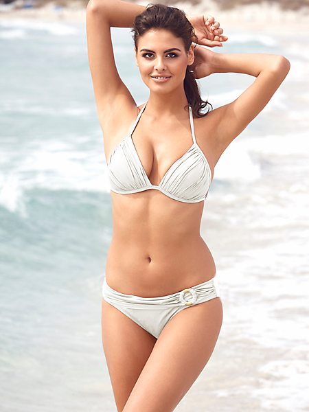 helline - Bikini uni drapé à bonnets souples tour de cou