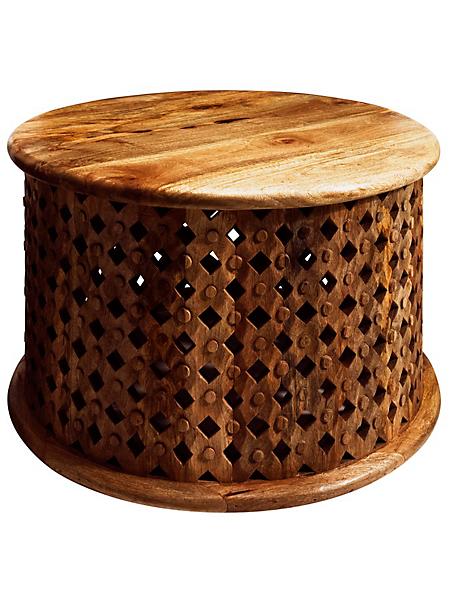 helline - Table basse artisanale en bois de manguier sculpté