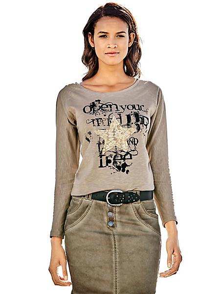 B.C. Best Connections - T-shirt femme imprimé graphique tendance, col rond