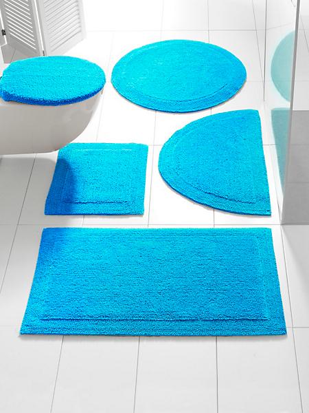 helline home - Parure de tapis de bain en coton moelleux uni bordé