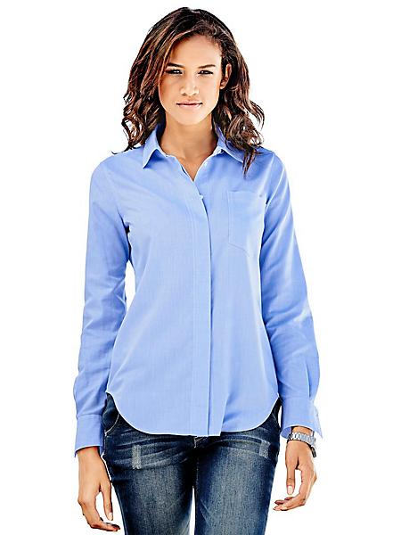 B.C. Best Connections - Chemisier long cintré bleu femme à poche poitrine