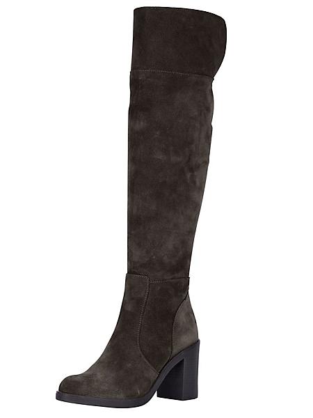 helline - Cuissardes en cuir velours à talon épais confortable