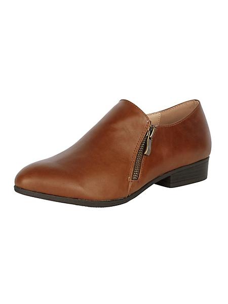 Andrea Conti - Chaussures basses en cuir couleur ambre, type derbies