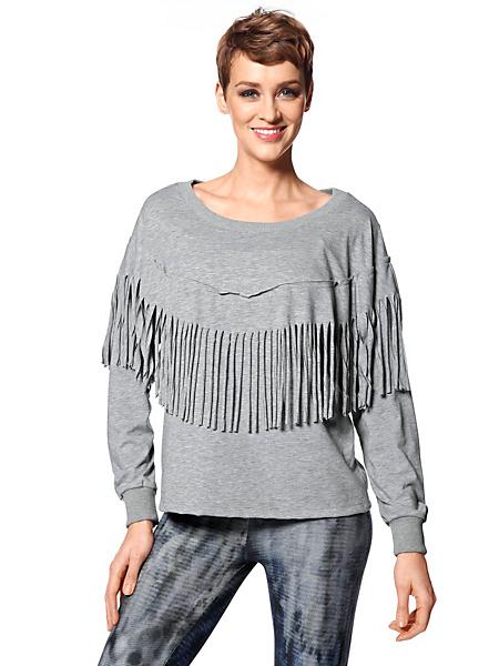 helline - T-shirt type sweat manches longues avec franges avant