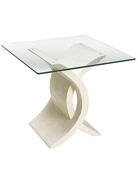 helline - Desserte élégante en marbre avec plateau en verre