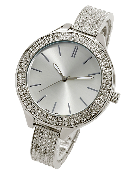 helline - Montre bracelet femme argentée, cadran à strass