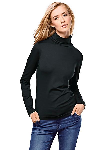 Patrizia Dini - T-shirt femme col roulé uni à manches longues