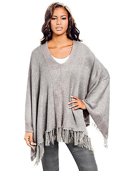 B.C. Best Connections - Poncho uni en tricot à franges, maille côtelée moderne