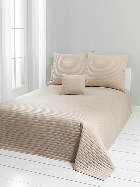 helline home - Dessus de lit uni en coton, aspect rayé matelassé