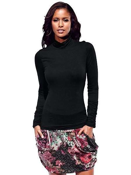 B.C. Best Connections - T-shirt col roulé femme à manches et base drapées