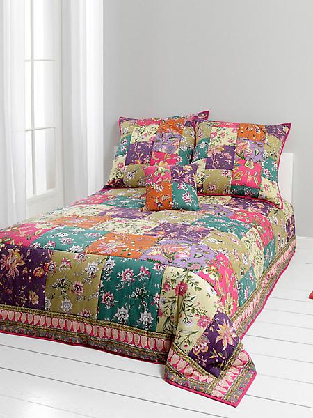 helline - Dessus de lit à fleurs, effet patchwork