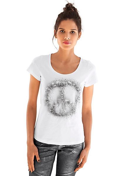 Rick Cardona - T-shirt simple avec peace and love original avec strass