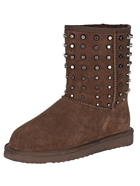 helline - Boots femme rembourrées en cuir marron avec rivets
